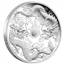 1 Troy ounce silver coin Double Dragon 2020