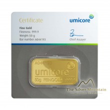 Umicore 50 grams goldbar with certificate