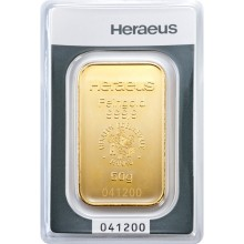 Gold bar 50 grams Heraeus