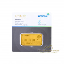 Umicore 50 grams gold bar with certificate