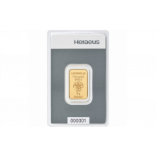 5 Grams gold bar Heraeus