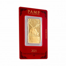 1 Troy ounce gold bar Pamp Suisse Lunar year of the Ox 2021