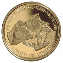 """$100 Gold coin Canada """"50th Anniversary of Newfoundland Unity"""""""