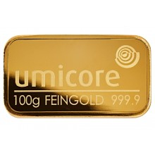 100 Grams 99,99 gold bar Umicore