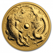 1 Troy ounce gold coin Dragon and Tiger 2019