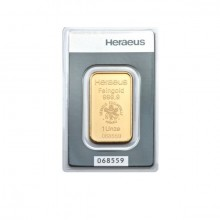 1 troy ounce gold bar Heraeus