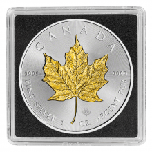 1 Troy ounce silver coin Maple Leaf 2017 Gold Plated