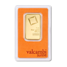 Goldbar 1 troy ounce 99,99% Gold Valcambi