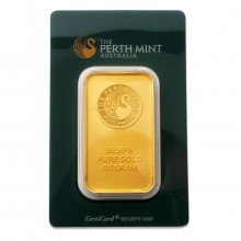 100 grams 99,99 Perth Mint gold bar