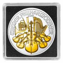 1 Troy ounce silver coin Philharmonic 2017 Gold Plated