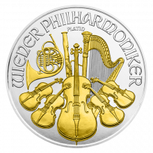 1 Troy ounce silver coin Philharmonic 2016 Gold Plated