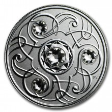 Silver coin April Birthstone Swarovski 2020