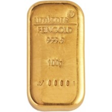 Umicore gold bar 100 grams with certificate