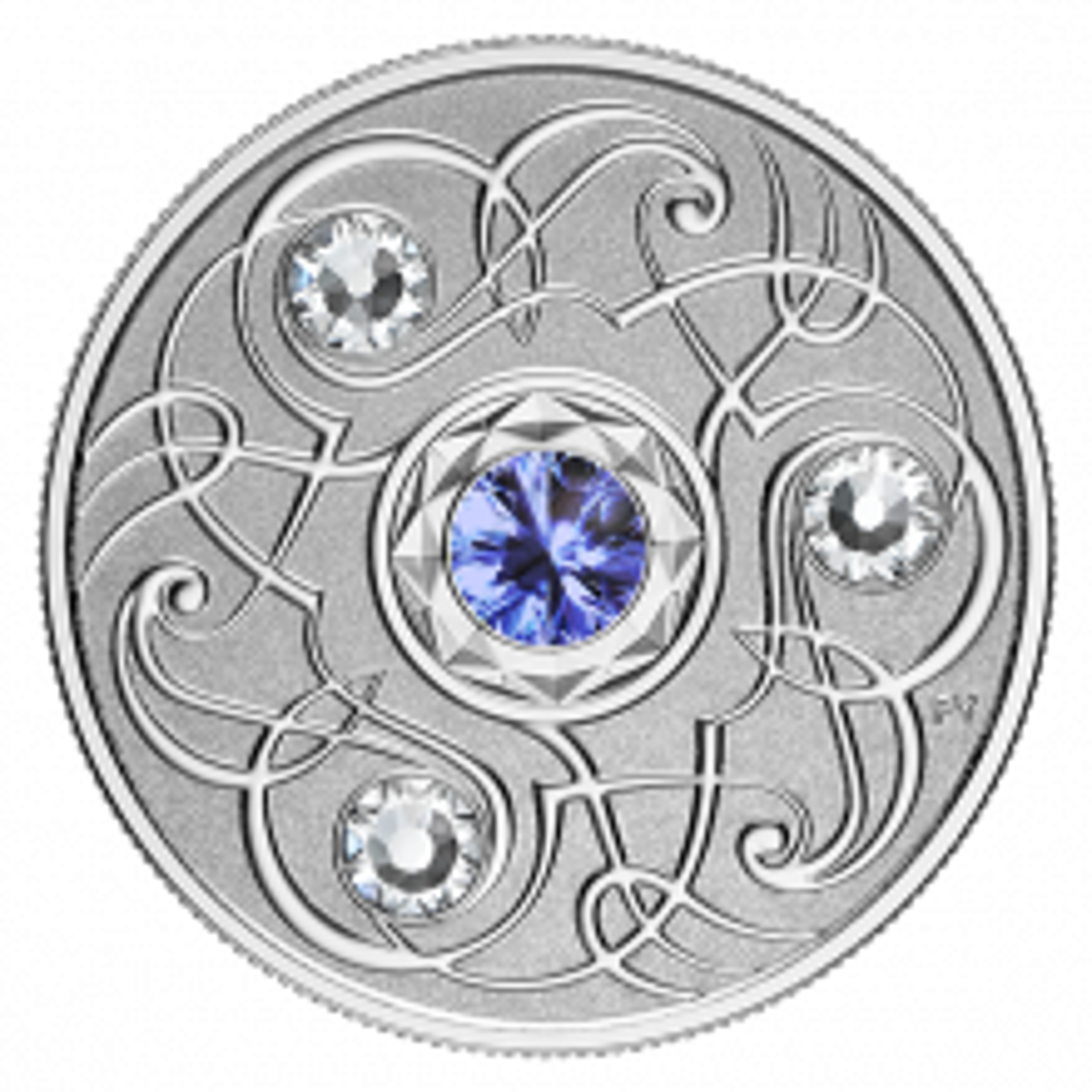 Silver coin september Birthstone Swarovski 2020