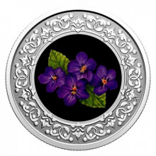 Silver coin Floral Emblems of Canada Purple Violet