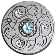 Silver coin March Birthstone Swarovski 2020