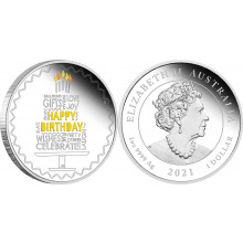 1 troy ounce silver coin Happy Birthday 2021 Proof