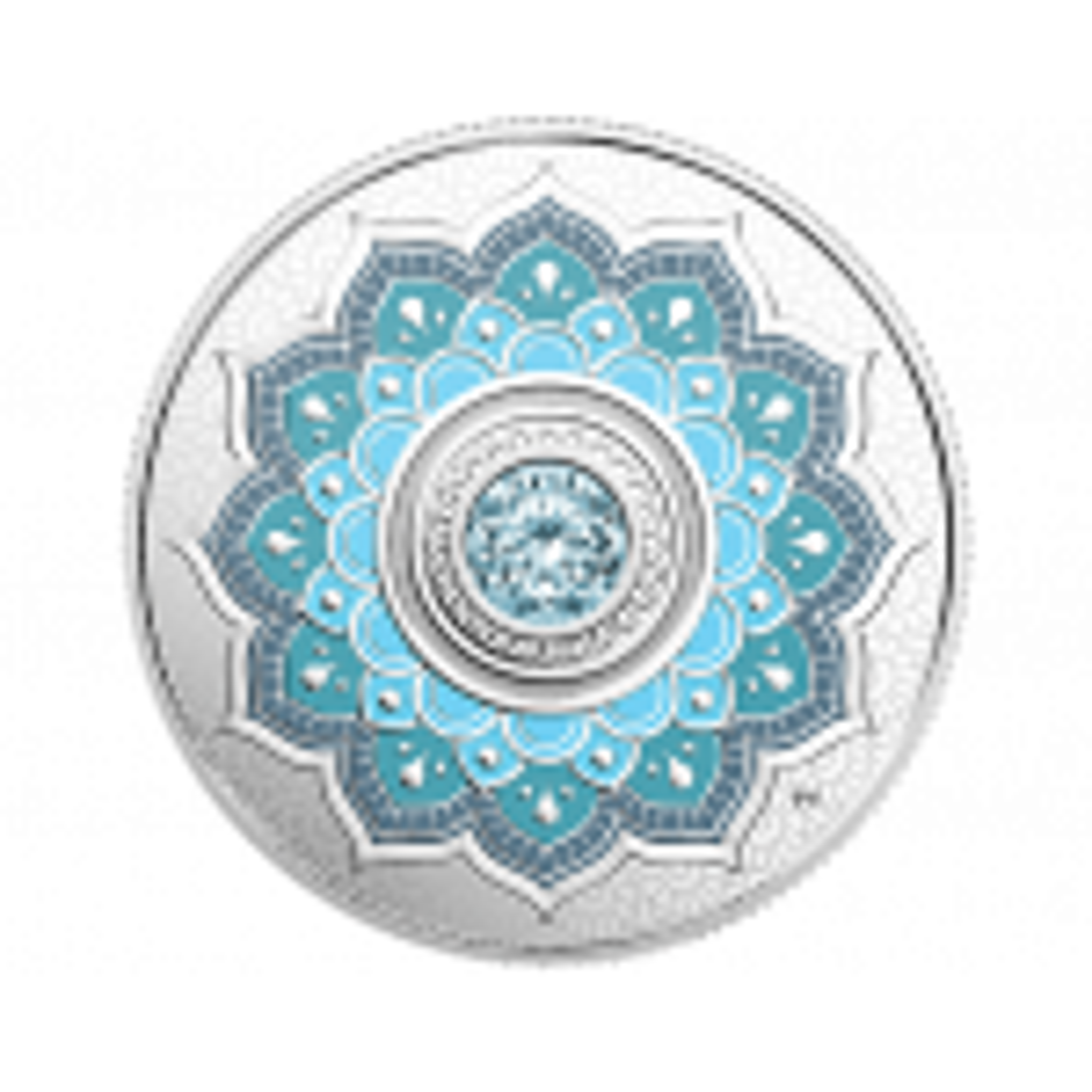 Silver coin March Birthstone Swarovski
