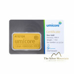 Umicore 1 troy ounce goldbar with certificate