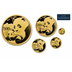 5-coin set gold Panda coins 2019