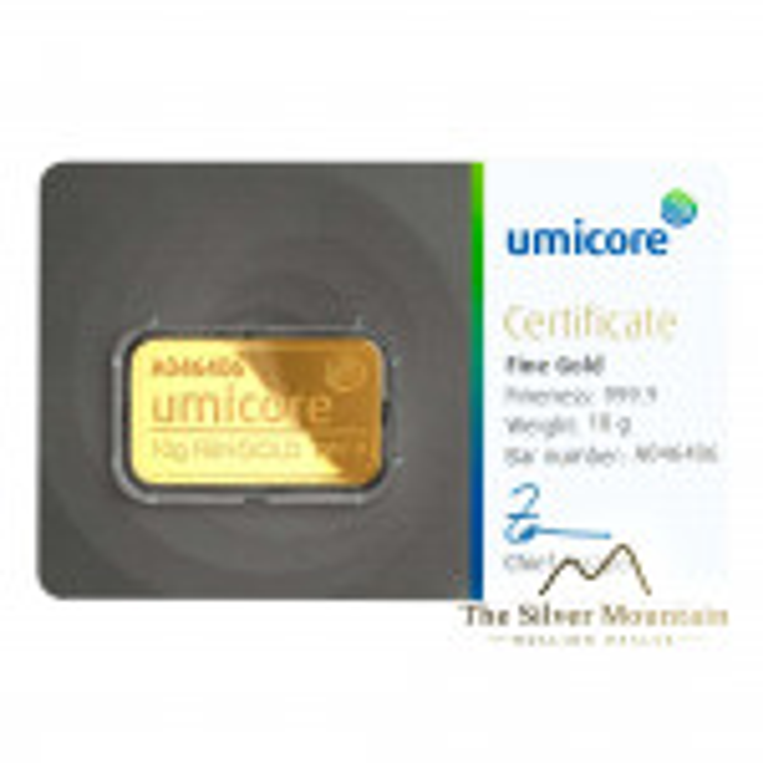 Umicore 10 grams goldbar with certificate