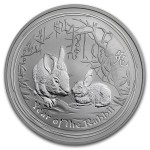 Rare: 1 troy ounce silver coin Lunar Series II - Year of the Rabbit 2011