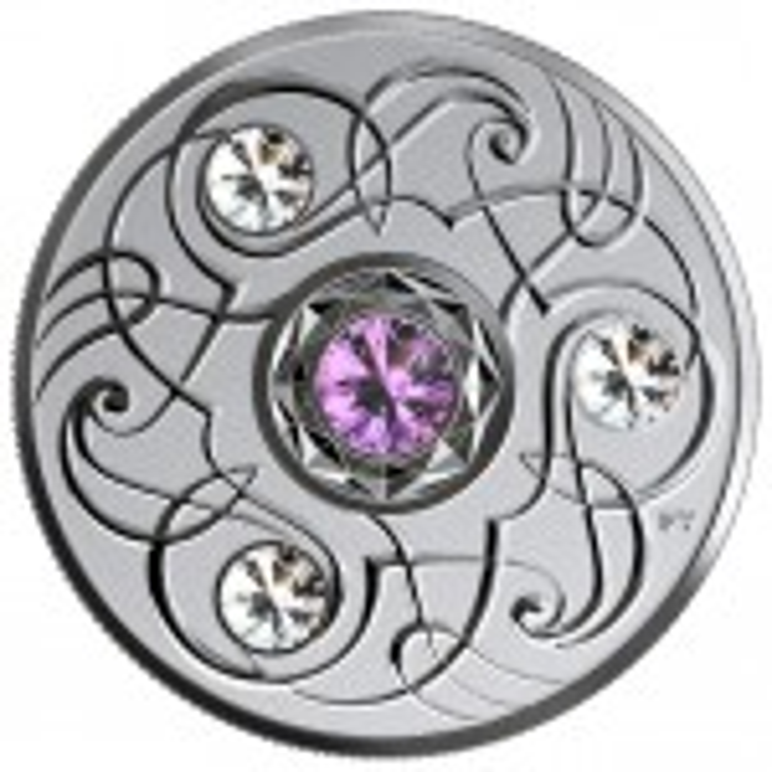 Silver coin February Birthstone Swarovski 2020