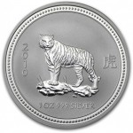 Rare: 1 troy ounce silver coin Lunar Series I - Year of the Tiger 2010