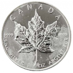 1 troy ounce silver Maple Leaf circulated quality
