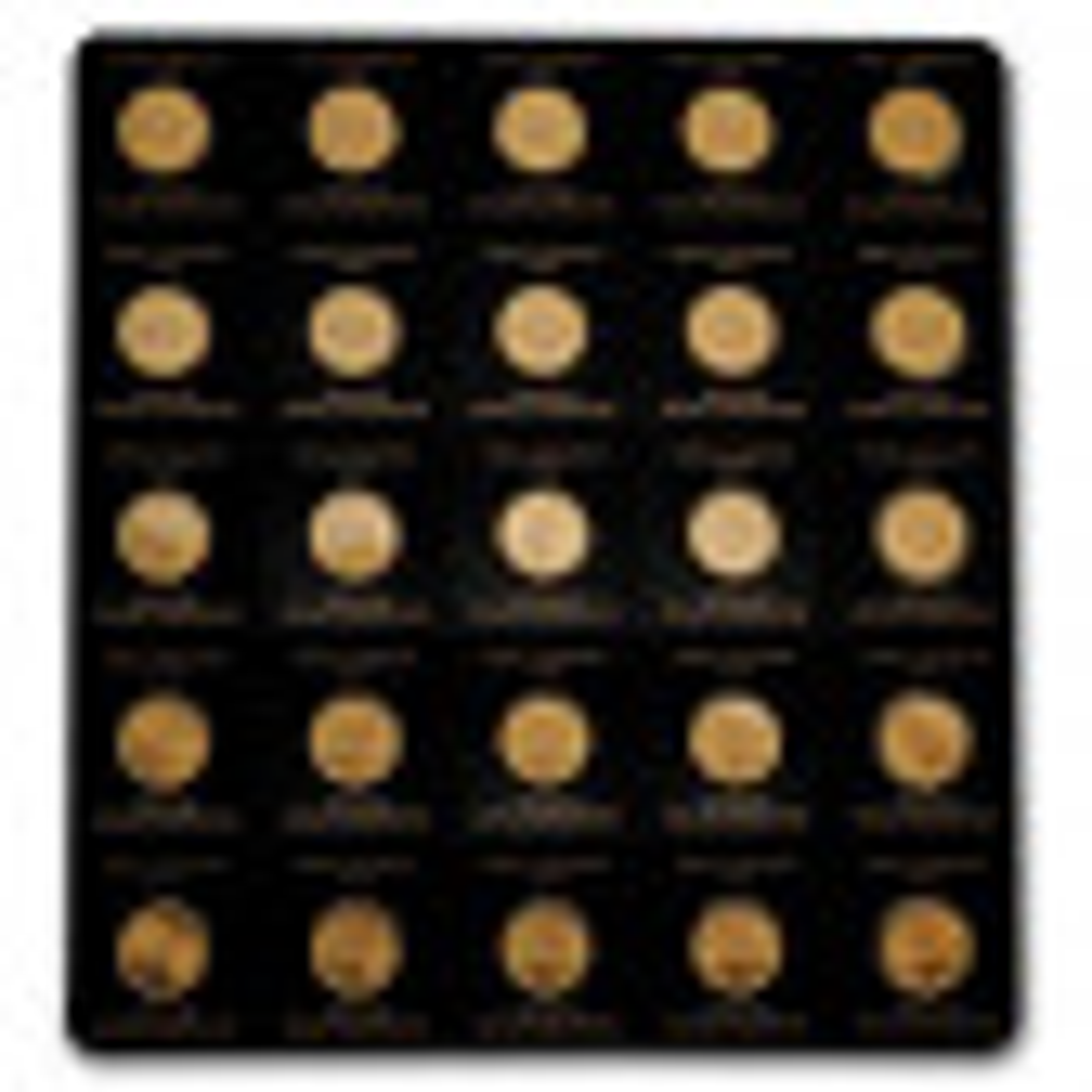 25x 1 gram gouden Maple Leaf munten 2021